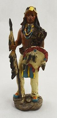 Superb Red Indian Brave with War Shield & Spear Statue/Ornament/Figurine
