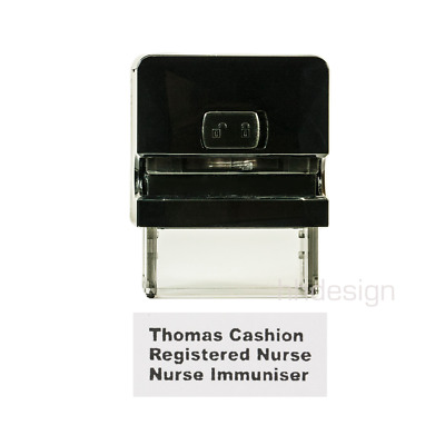 Personalised Self Inking Rubber Stamp Custom Business Name Address 38x14mm SMALL