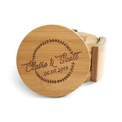 Personalised 6 Pieces Round Wooden Bamboo Coasters + Holder Wedding Gift