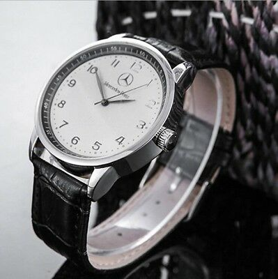 Mercedes Benz Men Stainless Steel Black Leather Strap White Face watch FREE Ship
