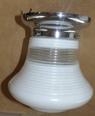 "VTG 50s ART DECO MID CENTURY MILK GLASS & CHROME CEILING LIGHT FIXTURE 9"" HIGH"