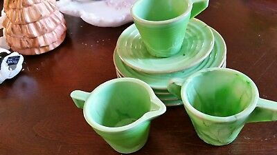 8 Pieces Akro Agate Children's Dishes - Assorted Pieces in Green Agate Glass.