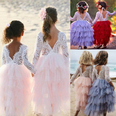 Kids Baby Girls Tulle Long Maxi Tutu Dresses Party Gown Bridesmaid Princess AU