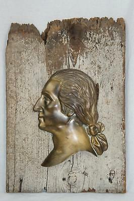 Antique Cast Bronze Profile Bust Of George Washington Mounted On Weathered Board