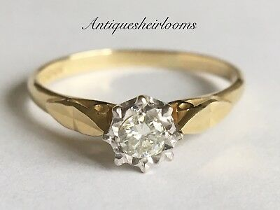 Beautiful Vintage 18ct Diamond Solitaire Yellow Gold ring 18ct 750  20 Points