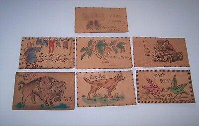 Lot of 7 Antique Leather Postcards Used & Unused  Circa 1907 - Four With Stamps