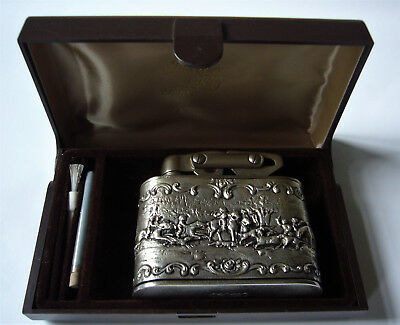 Beautiful old pre war KW 800 silver petrol lighter table lighter hunting scene
