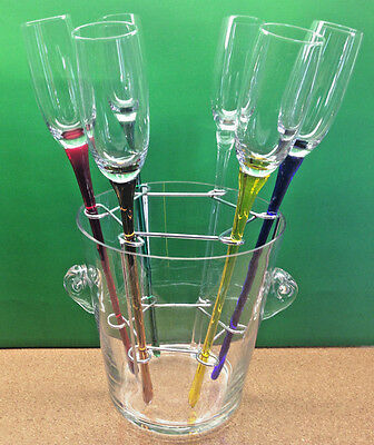 Artland-Crystal-Long-Stem-Champagne-Toasting-Flutes (6) W / Stand & Chiller