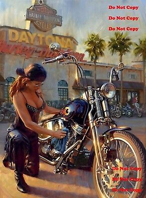 Harley Davidson Motorcycle Pinup Girl 8X10 Photograph Photo Man Cave Sign Photo