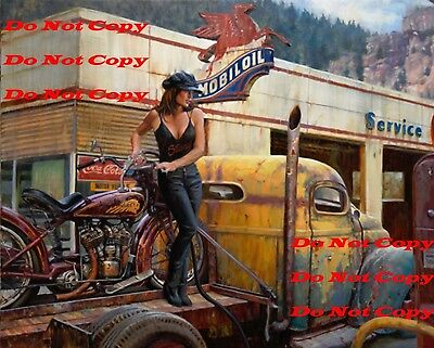 Indian Motorcycle Pinup Girl 8X10 Photograph Photo Man Cave Sign Photo PIC PIX