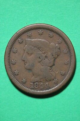 1844 Braided Hair Large Cent Exact Coin Pictured Flat Rate Shipping OCE249
