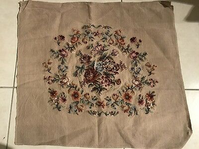 Tapestry Needlepoint Wool Canvas Partially Completed Floral Chair