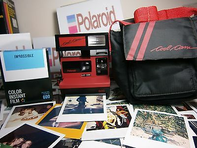 RARER ONE  FILM INCLUSIVE + CASE Polaroid RED COOL CAM +READY TO SHOOT PACKAGE+