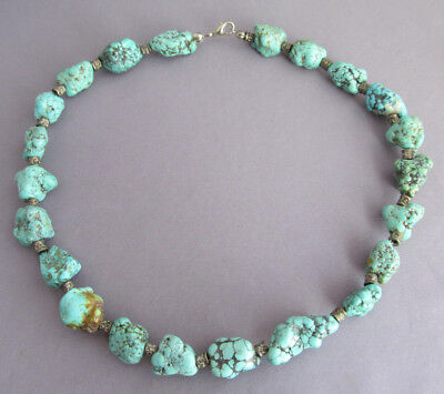 Vintage Old Pawn Spiderweb Turquoise Number 8 Nugget Bead Necklace