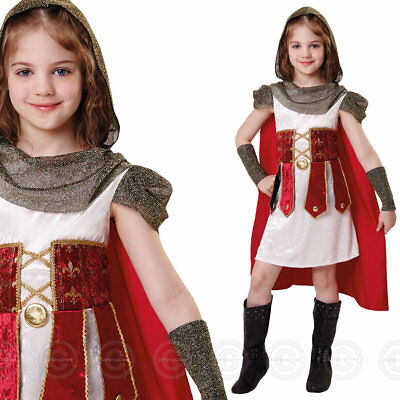 Girls Roman Princess Fancy Dress Costume Medieval Gladiator Childs Bn Outfit New
