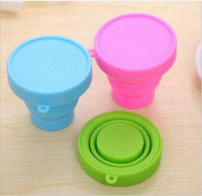3PCS Cute Colourful Silicone Folding Cup Outdoor Camping Telescopic Collapsible