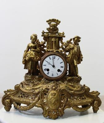 ANTIQUE 1880 FRENCH  CLOCK  Gilt  Ormolu ROMANTIC TWO LOVERS AT FOUNTAIN