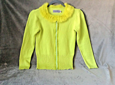 Saphier vintage style fur collar neon green color sweater size one
