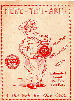 Necco Candy Store Display Card For Boston Baked Beans C 1890