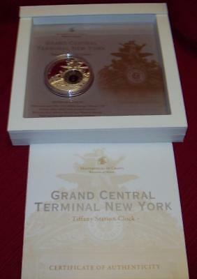 2013 Grand Central Cook Islands Proof 10 Dollars Tiffany Clock 50 Gr Silver Coin
