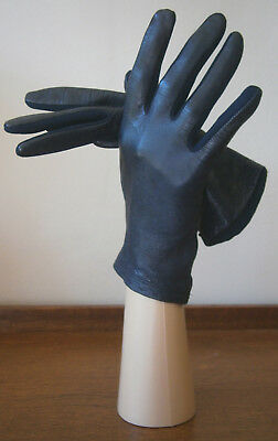 VINTAGE 1960s St MICHAEL MIDNIGHT BLUE LEATHER BACKED WRIST LENGTH GLOVES 7