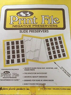 100 Pack Print File Archival Slide Negative Preservers  2x2x20B new old stock