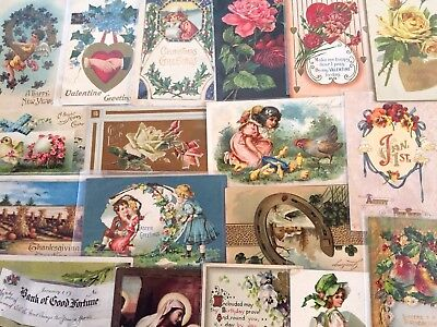 Vintage Mixed Lot of 25 Holidays & Greetings Postcards-Antique- ~in Sleeves-m46
