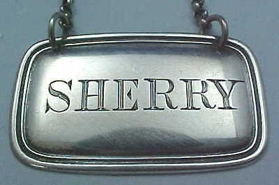 "1872 Sterling Silver Decanter ""Sherry"" Wine Label Hilliard & Thomason Birmingham"