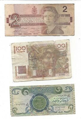 3 Bank Notes IRAQ FRANCE 1986 Canada $2 Dollar Circulated Paper Bill Foriegn