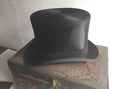 Antique 19thC Dobbs Fifth Ave NYC Gentlemans Silk Top Hat & Trunk NR