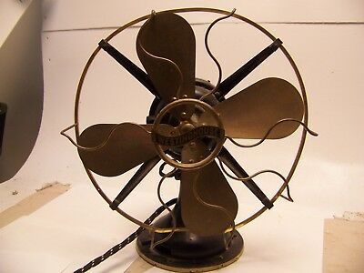 """Antique Westinghouse 12"""" Electric Fan Brass Blades & Cage Works old nice 162620"""