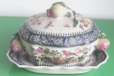 Small 20th Century Wong Lee Crackle Ware Tureen & Underplate. 24cm