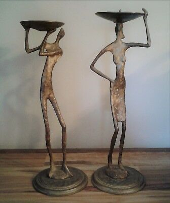 Collectable 2PC Unique Metal Art Male/Female Figurine Candle Holders