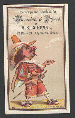 1881 Advertising Trade Card Subscriptions Magazine &Papers AS Burbank PlymouthMa