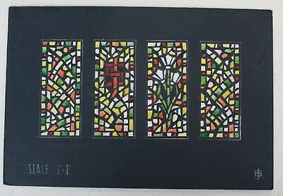 RARE & IMPORTANT WATER COLOR DRAWING OF STAINED GLASS WINDOW J.Hardman PUGIN
