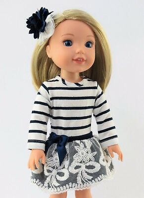 "Navy Stripe Lace Dress Fits Wellie Wishers 14.5"" American Girl Clothes"