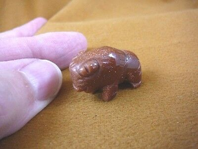"(Y-BUF-509) little 1"" BUFFALO orange BISON gemstone gem Stone FIGURINE buffaloes"