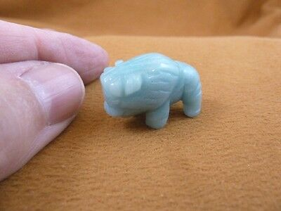 "(Y-BUF-510) little 1"" BUFFALO green BISON gemstone gem Stone FIGURINE buffaloes"
