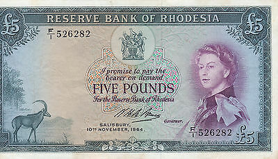 ~ RESERVE BANK OF RHODESIA  Five Pounds £5 Banknote - 1964 - P26a ~