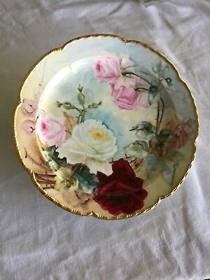 """Large Limoges Charger With Red, Pink & White Roses, Aprox. 13 3/4"""" In Diameter."""