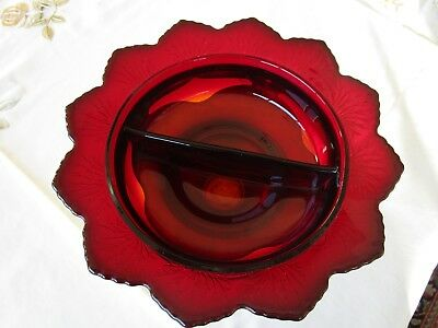 """Vintage Art Deco Cambridge RED Glass Krome Kraft Footed Divided Relish 5.5"""""""