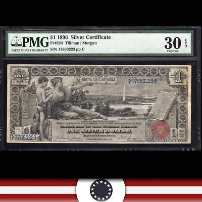 1896 $1 Silver Certificate Large Size EDUCATIONAL PMG 30 EPQ Fr 224 17850223