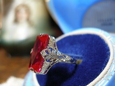 Antique 18K White Gold Filigree Large Emerald Cut Ruby Red Art Deco 1920's Ring