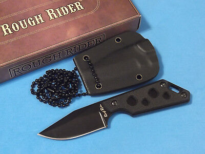 "ROUGH RIDER RR1813 Neck Knife Black G10 handle full tang blade 4 1/2"" overall"