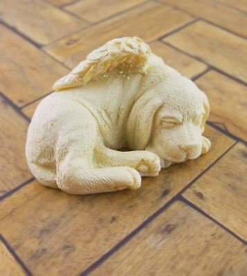 Small Sleeping Dog Angel Figurine Wings Pet Memorial Keepsake #as20240D