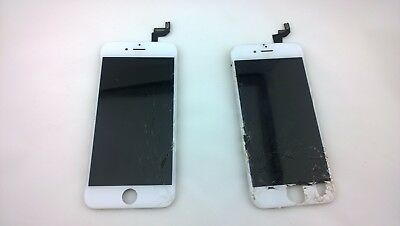 Genuine iPhone 6s Plus OEM White  - Good LCD & Touch, Cracked Glass, 2 screens