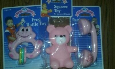 New Baby King lot of 3 pink rattle and squeeze toys