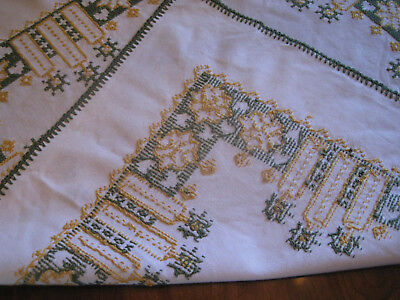 CHRISTMAS, Vintage, German  HAND EMBROIDERED Linen Tablecloth  30x30 in.
