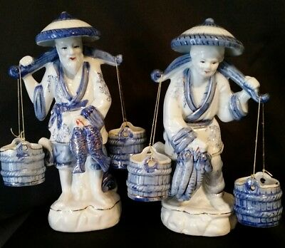 PAIR OF BLUE, WHITE, and GOLD CHINESE FISHERMAN and WOMAN FIGURINES
