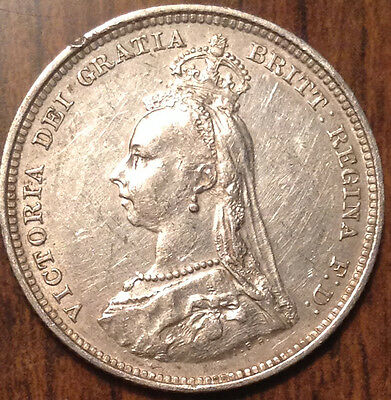 1888 Uk Gb Great Britain Silver Shilling In Magnificent Condition !!